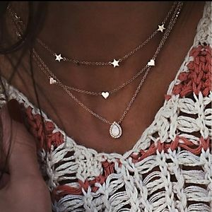NEW Gold Three Layer Heart and Star Necklace